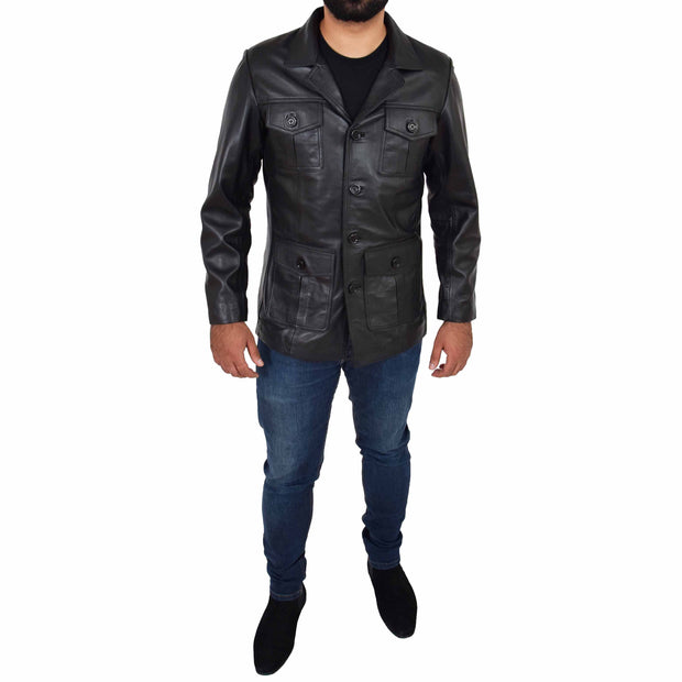 Mens Real Leather Safari Jacket Retro Blazer Coat Sylas Black Full