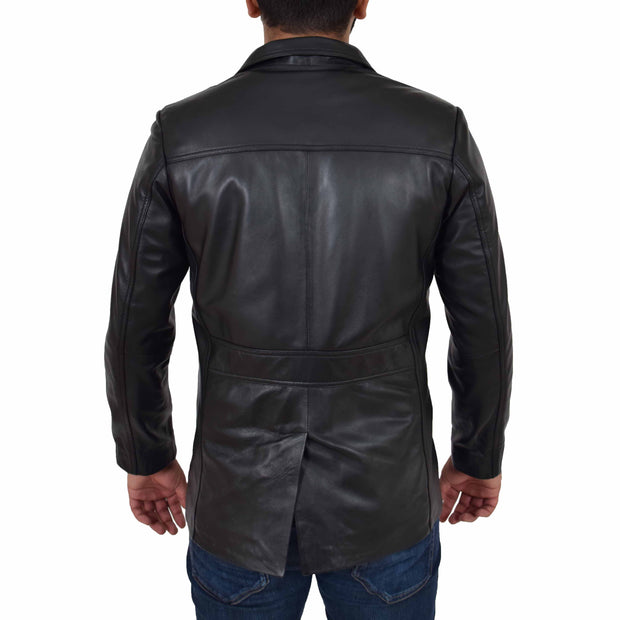Mens Real Leather Safari Jacket Retro Blazer Coat Sylas Black Back