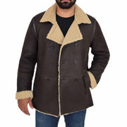 Mens Authentic Sheepskin Jacket Reefer Blazer Pea Coat Lorenzo Brown Open
