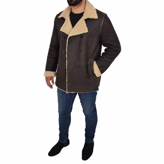 Mens Authentic Sheepskin Jacket Reefer Blazer Pea Coat Lorenzo Brown Full