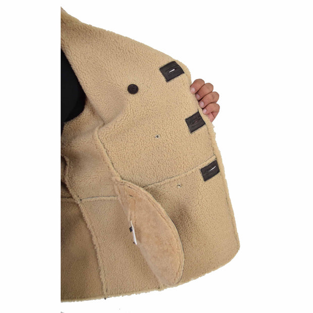 Mens Authentic Sheepskin Jacket Reefer Blazer Pea Coat Lorenzo Brown Lining