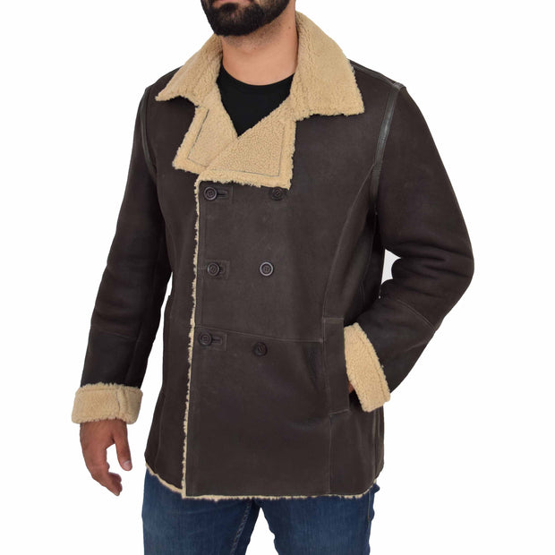 Mens Authentic Sheepskin Jacket Reefer Blazer Pea Coat Lorenzo Brown