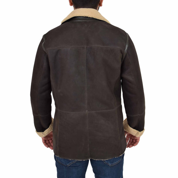 Mens Authentic Sheepskin Jacket Reefer Blazer Pea Coat Lorenzo Brown Back