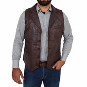 Mens Genuine Soft Leather Waistcoat Western Vest Yelek Rhys Brown Open
