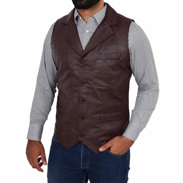 Mens Genuine Soft Leather Waistcoat Western Vest Yelek Rhys Brown