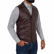 Mens Genuine Soft Leather Waistcoat Western Vest Yelek Rhys Brown Front 2