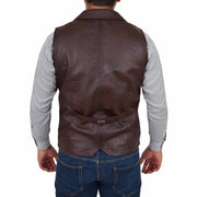 Mens Genuine Soft Leather Waistcoat Western Vest Yelek Rhys Brown Back