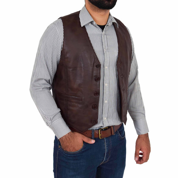 Mens Full Leather Waistcoat Gilet Traditional Smart Vest King Brown Open
