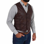 Mens Full Leather Waistcoat Gilet Traditional Smart Vest King Brown