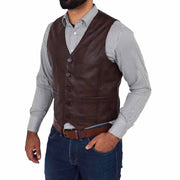 Mens Full Leather Waistcoat Gilet Traditional Smart Vest King Brown Front 2