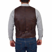 Mens Full Leather Waistcoat Gilet Traditional Smart Vest King Brown Back
