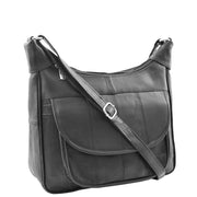 Ladies Soft Leather Crossbody Everyday Bag Large Size Pouch Beulah Black
