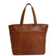 Womens Genuine Brown Leather Shoulder Bag Large Tote Day Handbag KAY Front 2