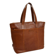 Womens Genuine Brown Leather Shoulder Bag Large Tote Day Handbag KAY