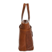 Womens Genuine Brown Leather Shoulder Bag Large Tote Day Handbag KAY Side