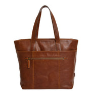 Womens Genuine Brown Leather Shoulder Bag Large Tote Day Handbag KAY Back