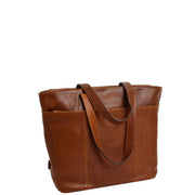 Womens Genuine Brown Leather Shoulder Bag Large Tote Day Handbag KAY Fornt 1