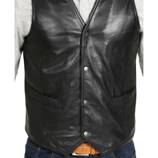 Mens Soft Leather Waistcoat Classic Gilet Bruno Black feature view