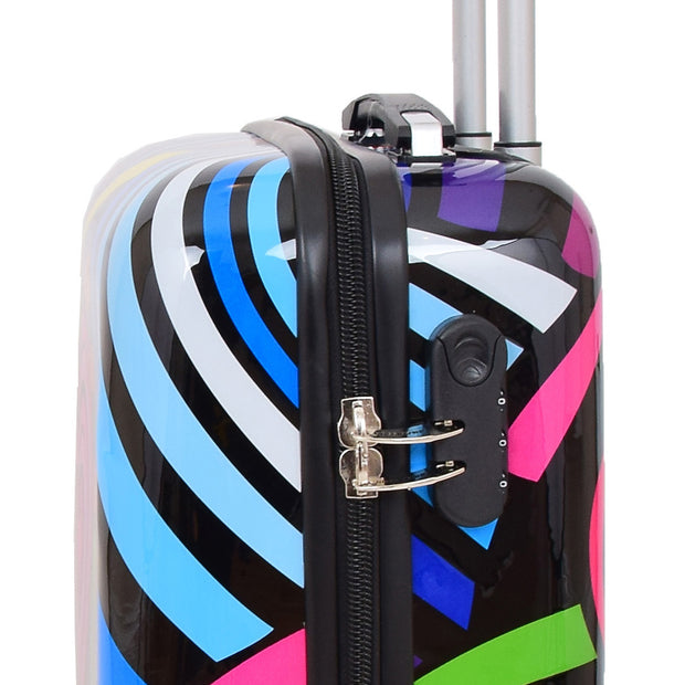 Cabin Size Suitcase Multicolour Hearts Travel Bag 4 wheel Hand Luggage A20S Feature 1