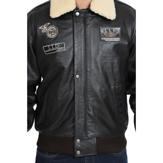 Mens Pilot Bomber Leather Jacket Spitfire Brown feature 2 view