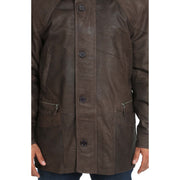 Gents Classic Soft Leather Parka Overcoat Clive Brown Feature 2