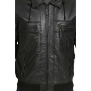 Mens Hooded Bomber Leather Jacket Seth Black feature view