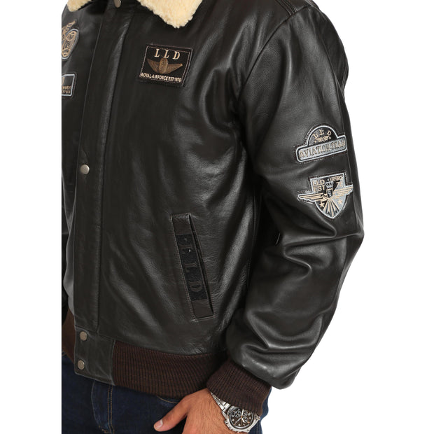Mens Pilot Bomber Leather Jacket Spitfire Brown feature 1 view