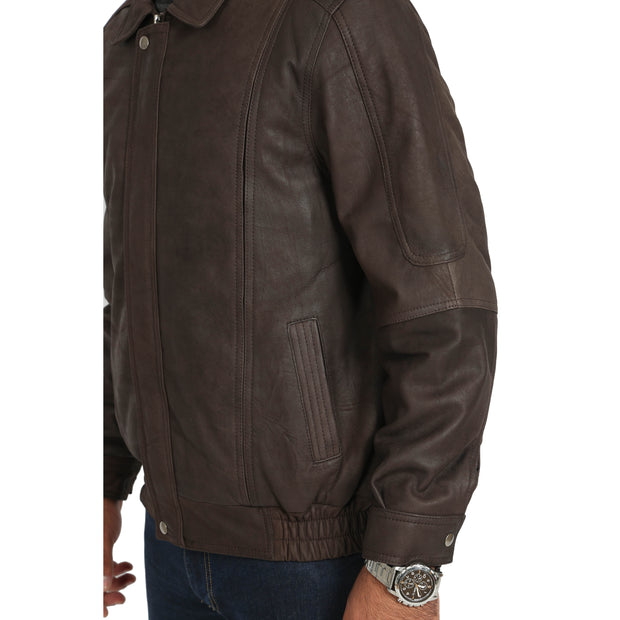 Gents Blouson Brown Leather Jacket Keith Nubuck feature view