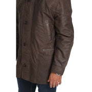 Gents Classic Soft Leather Parka Overcoat Clive Brown Feat1