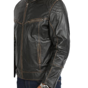 Mens Biker Style Leather Jacket Vintage Rub Off Effect Matt Brown feature view