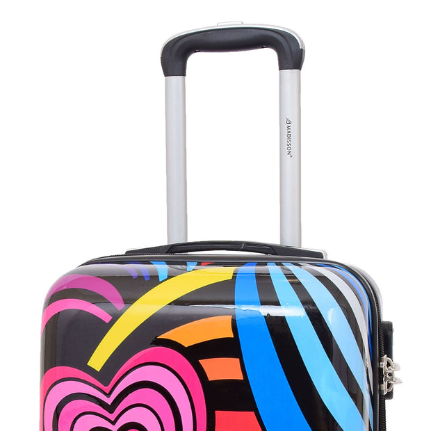 Cabin Size Suitcase Multicolour Hearts Travel Bag 4 wheel Hand Luggage A20S Feature 2