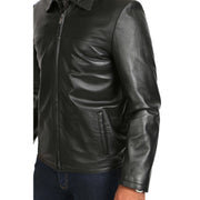Mens Classic Zip Fasten Box Leather Jacket Tony Black feature