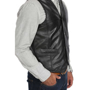 Mens Soft Leather Waistcoat Classic Gilet Bruno Black side view