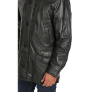 Gents Classic Soft Leather Parka Overcoat Clive Black feature view