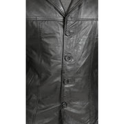 Mens Classic Blazer Buttoned Box Jacket Harris Black Feature 1