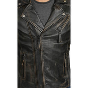 Mens Real Leather Biker Jacket Vintage Black Rub Off Slim Fit Coat Max Feature 2