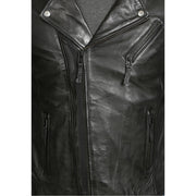 Mens Black Leather Biker Jacket X-Zip Fasten Trendy Designer Coat Max Feature 2