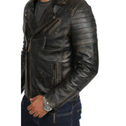 Mens Real Leather Biker Jacket Vintage Black Rub Off Slim Fit Coat Max Feature 1