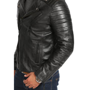 Mens Black Leather Biker Jacket X-Zip Fasten Trendy Designer Coat Max Feature 1