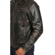 Mens Fitted Washed Biker Vintage Leather Aron Rub Off Feature
