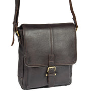 Mens Real Leather Cross body Messenger Bag A224 Brown Front Angle