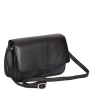Womens Black Leather Shoulder Messenger Handbag Ada With Belt