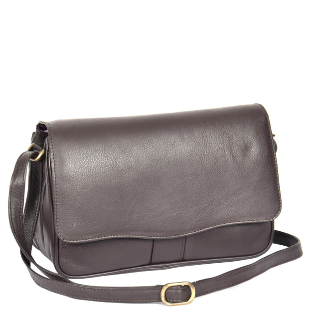 Womens Brown Leather Shoulder Messenger Handbag Ada With Belt