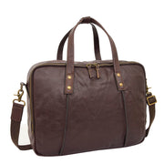 Womens Leather Briefcase Shoulder Organiser Laptop Handbag Acer Brown Feature 1