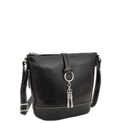 Womens Real Black Leather Sling Bag Crossbody Handbag Edith Front 2