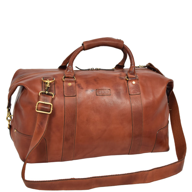Genuine Leather Holdall Vintage Tan Travel Weekend Duffle Bag Rome With Belt
