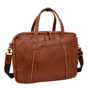 Womens Leather Briefcase Shoulder Organiser Laptop Handbag Acer Tan Feature 1