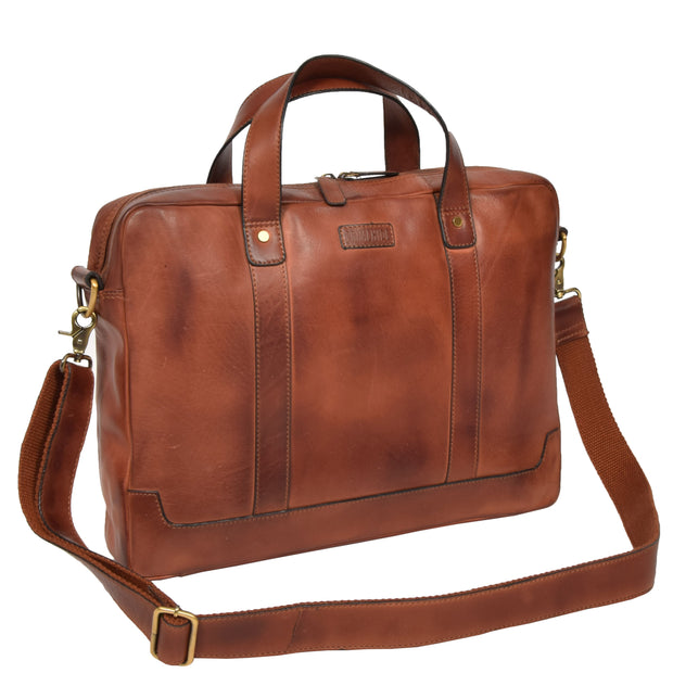 Real Soft Leather Satchel Vintage TAN Briefcase Business Office Bag Rio With Belt