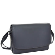 Ladies NAVY Leather Shoulder Bag Flap Over Handbag A190 Front Angle