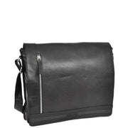 Mens Messenger Leather Bag Casual Office Students Man Bag Barney Black Front